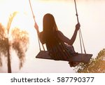 Silhouette Young Woman On A...