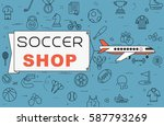 """airplane with banner """"soccer...   Shutterstock .eps vector #587793269"""