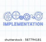 implementation text with gear... | Shutterstock .eps vector #587794181