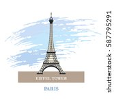 eiffel tower. paris. france.... | Shutterstock .eps vector #587795291