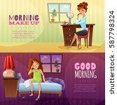 good morning and morning make... | Shutterstock .eps vector #587798324
