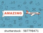 """airplane with banner """"amazing""""...   Shutterstock .eps vector #587798471"""