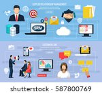crm horizontal flat banners... | Shutterstock .eps vector #587800769