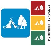 stylized icon of tourist tent.... | Shutterstock .eps vector #587802821