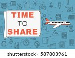 """airplane with banner """"time to...   Shutterstock .eps vector #587803961"""