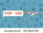 """airplane with banner """"top 100""""...   Shutterstock .eps vector #587804789"""