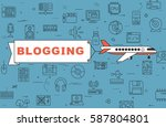 """airplane with banner """"blogging"""" ...   Shutterstock .eps vector #587804801"""