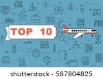 """airplane with banner """"top 10""""...   Shutterstock .eps vector #587804825"""