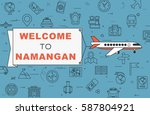 """airplane with banner """"welcome...   Shutterstock .eps vector #587804921"""