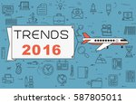 """airplane with banner """"trends...   Shutterstock .eps vector #587805011"""