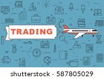 """airplane with banner """"trading""""...   Shutterstock .eps vector #587805029"""