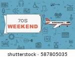 """airplane with banner """"70s...   Shutterstock .eps vector #587805035"""