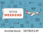 """airplane with banner """"1970s...   Shutterstock .eps vector #587805149"""