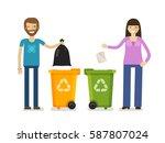 trash bin  garbage can in flat... | Shutterstock .eps vector #587807024