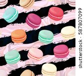 Realistic Macaroons Colorful...