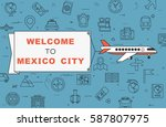 """airplane with banner """"welcome...   Shutterstock .eps vector #587807975"""
