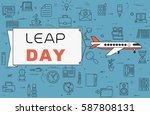 """airplane with banner """"leap day"""" ...   Shutterstock .eps vector #587808131"""