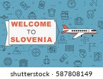 """airplane with banner """"welcome...   Shutterstock .eps vector #587808149"""