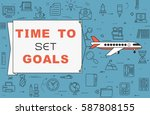 """airplane with banner """"time to...   Shutterstock .eps vector #587808155"""