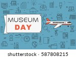 """airplane with banner """"museum...   Shutterstock .eps vector #587808215"""