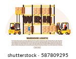 warehouse logistic background... | Shutterstock .eps vector #587809295