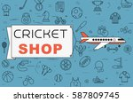 """airplane with banner """"cricket...   Shutterstock .eps vector #587809745"""