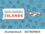 """airplane with banner """"solomon...   Shutterstock .eps vector #587809805"""