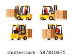 forklift with human worker... | Shutterstock .eps vector #587810675