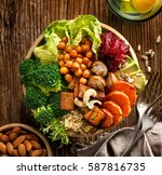 buddha bowl  healthy and... | Shutterstock . vector #587816735