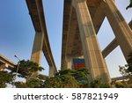 the  working crane bridge in...