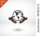 globe in hand  icon. one of set ... | Shutterstock .eps vector #587822171
