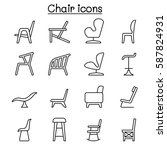 chair icon set in thin line... | Shutterstock .eps vector #587824931