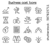 business cost icon set in thin... | Shutterstock .eps vector #587825711