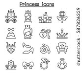 princess icon set in thin line... | Shutterstock .eps vector #587826329