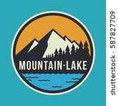 mountain lake circular logo... | Shutterstock .eps vector #587827709