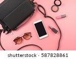 woman handbag with makeup ...   Shutterstock . vector #587828861