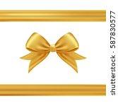 Gold Gift Ribbon And Bow.