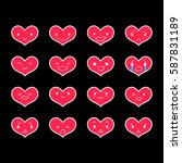 heart emoticons with different... | Shutterstock .eps vector #587831189