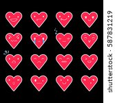 heart emoticons with different... | Shutterstock .eps vector #587831219
