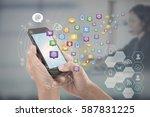 hand touching screen smart... | Shutterstock . vector #587831225