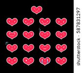 heart emoticons with different... | Shutterstock .eps vector #587831297