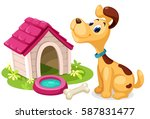 Cute Dog With Dog House Cartoon