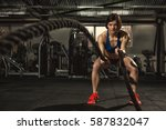 battle ropes session.... | Shutterstock . vector #587832047