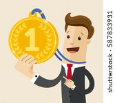 businessman with the gold medal.... | Shutterstock .eps vector #587833931
