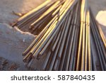 Closeup Of Steel Rebars.