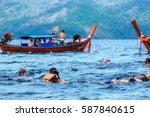 snorkeling activity of tourists ...   Shutterstock . vector #587840615
