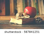 old vintage book on wooden... | Shutterstock . vector #587841251