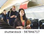 travel passenger aeroplane... | Shutterstock . vector #587846717