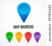 vector map markers rainbow... | Shutterstock .eps vector #587851685