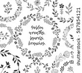 set of laurels and wreaths | Shutterstock .eps vector #587854121